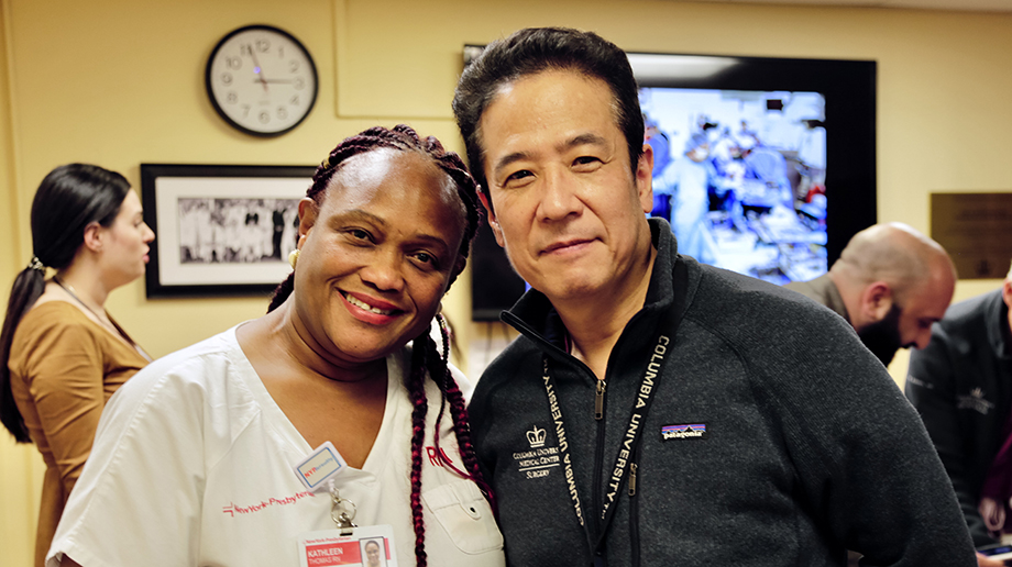 Tomoaki Kato, MD with Kathleen Thomas, RN in a surgical case planning meeting February of 2020.